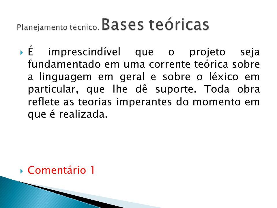 Planejamento técnico. Bases teóricas
