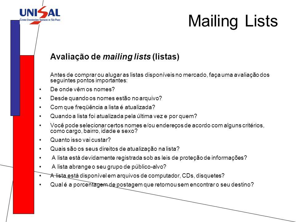 Mailing Lists Avaliação de mailing lists (listas)