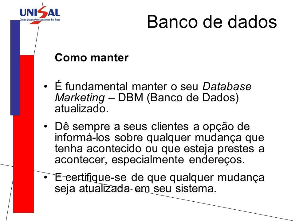 Banco de dados Como manter