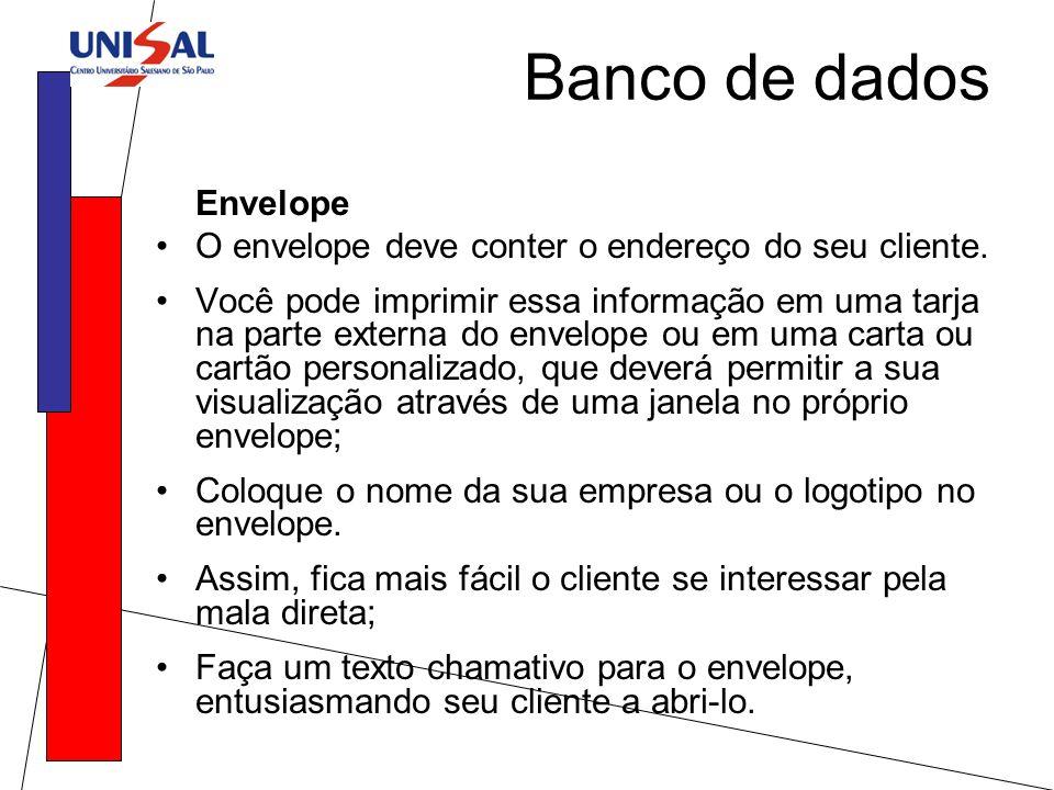 Banco de dados Envelope