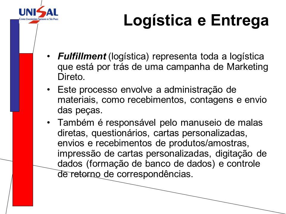 Logística e Entrega Fulfillment (logística) representa toda a logística que está por trás de uma campanha de Marketing Direto.
