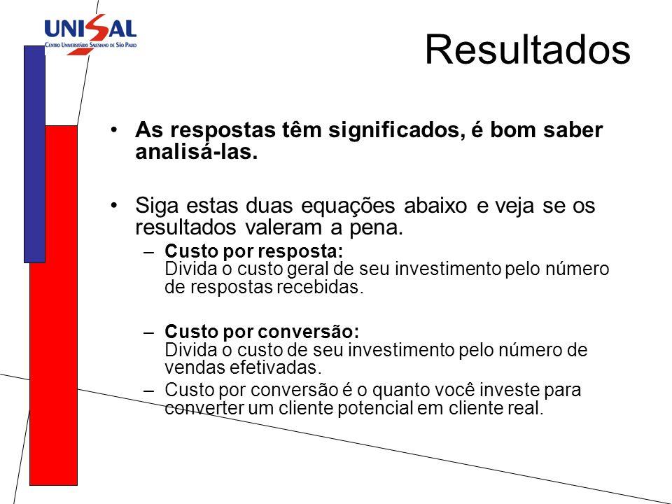 Resultados As respostas têm significados, é bom saber analisá-las.