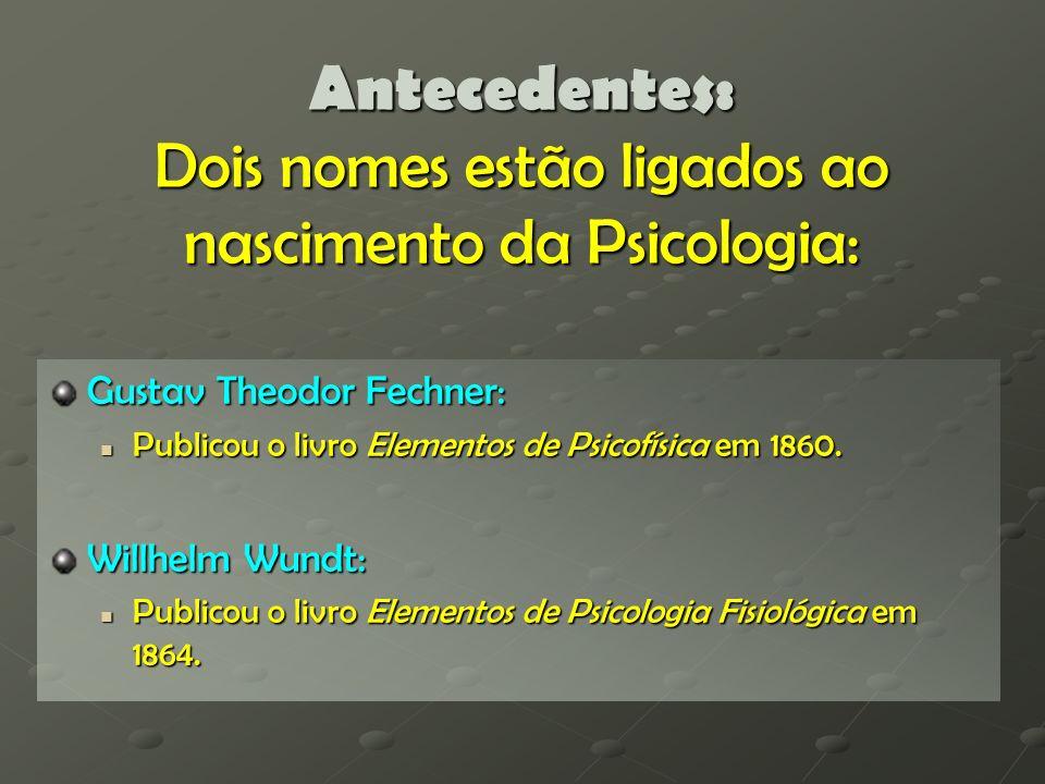 Antecedentes: Dois nomes estão ligados ao nascimento da Psicologia: