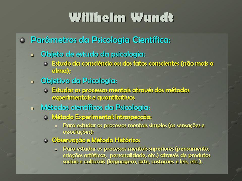 Willhelm Wundt Parâmetros da Psicologia Científica: