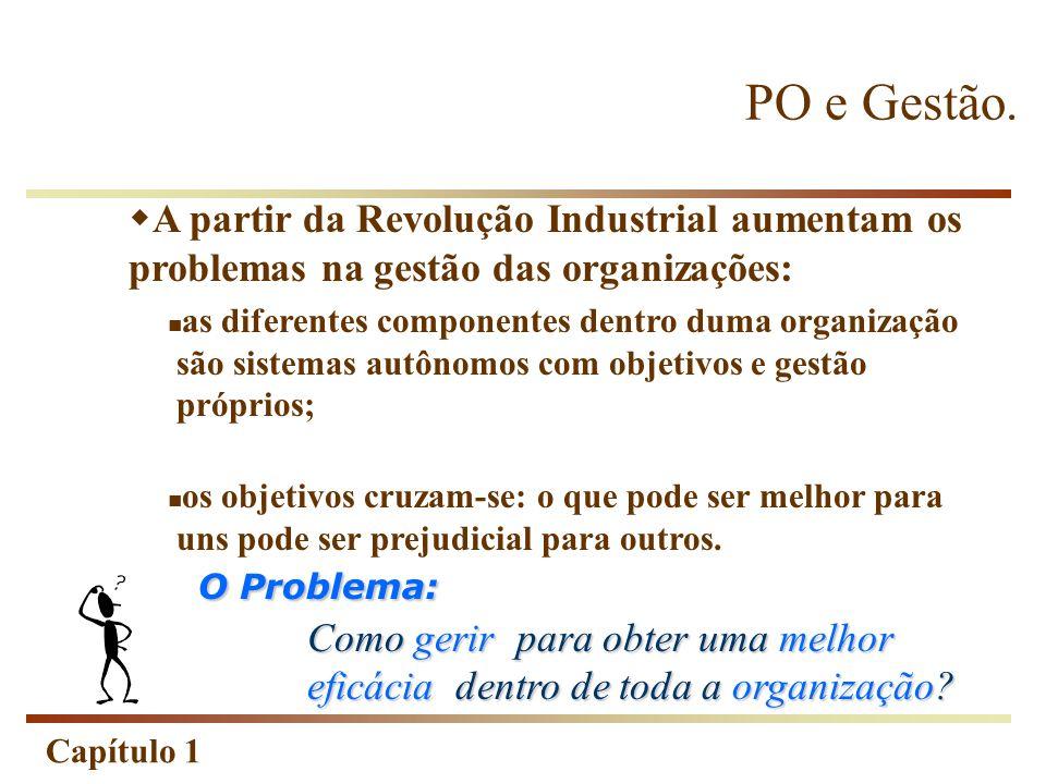 PO e Gestão. A partir da Revolução Industrial aumentam os problemas na gestão das organizações: