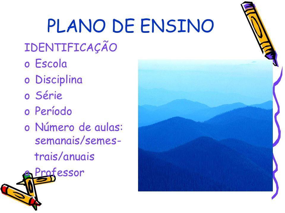 PLANO DE ENSINO IDENTIFICAÇÃO Escola Disciplina Série Período