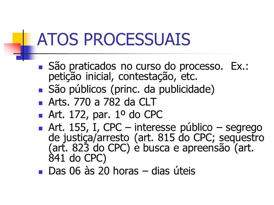 ATOS PROCESSUAIS São praticados no curso do processo. Ex.: petição inicial, contestação, etc. São públicos (princ. da publicidade)