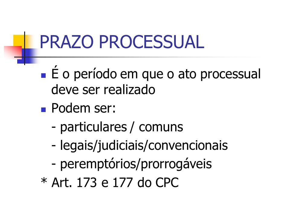 PRAZO PROCESSUAL É o período em que o ato processual deve ser realizado. Podem ser: - particulares / comuns.