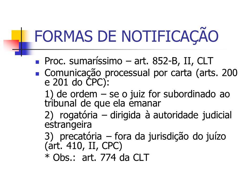 FORMAS DE NOTIFICAÇÃO Proc. sumaríssimo – art. 852-B, II, CLT