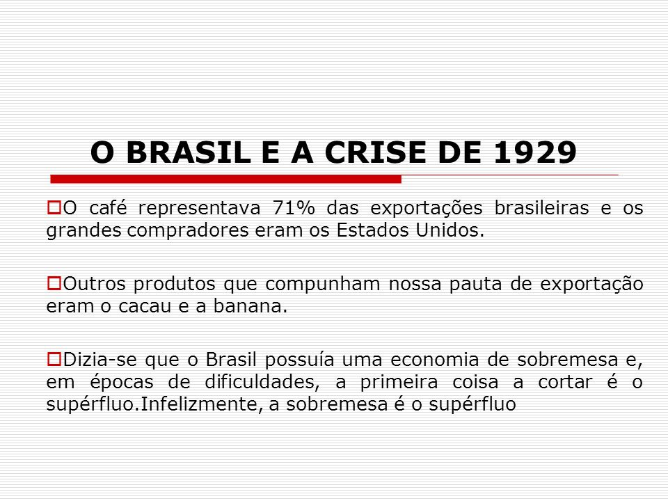 O BRASIL E A CRISE DE 1929 O café representava 71% das exportações brasileiras e os grandes compradores eram os Estados Unidos.