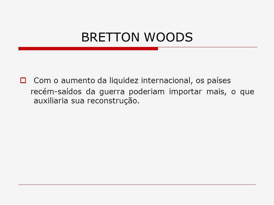 BRETTON WOODS Com o aumento da liquidez internacional, os países