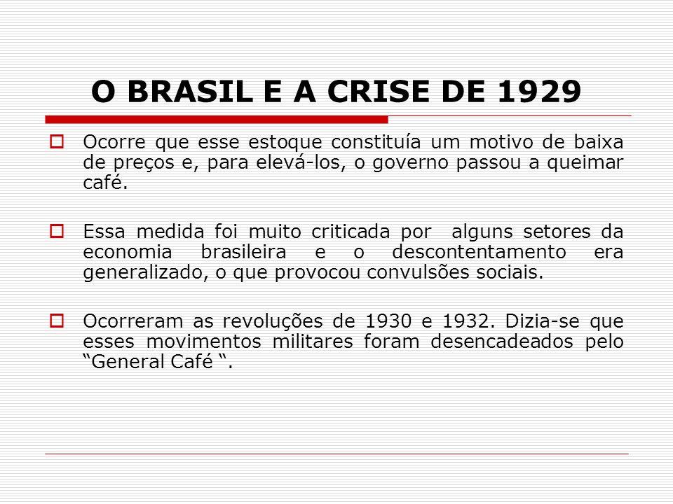 O BRASIL E A CRISE DE 1929 Ocorre que esse estoque constituía um motivo de baixa de preços e, para elevá-los, o governo passou a queimar café.