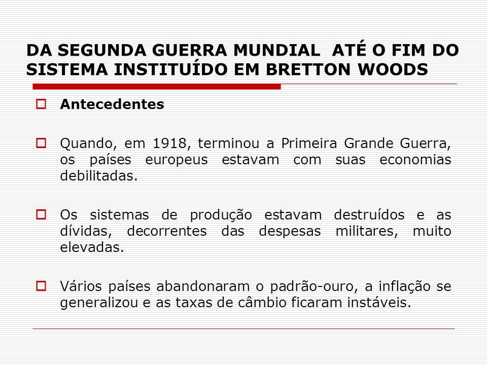 DA SEGUNDA GUERRA MUNDIAL ATÉ O FIM DO SISTEMA INSTITUÍDO EM BRETTON WOODS