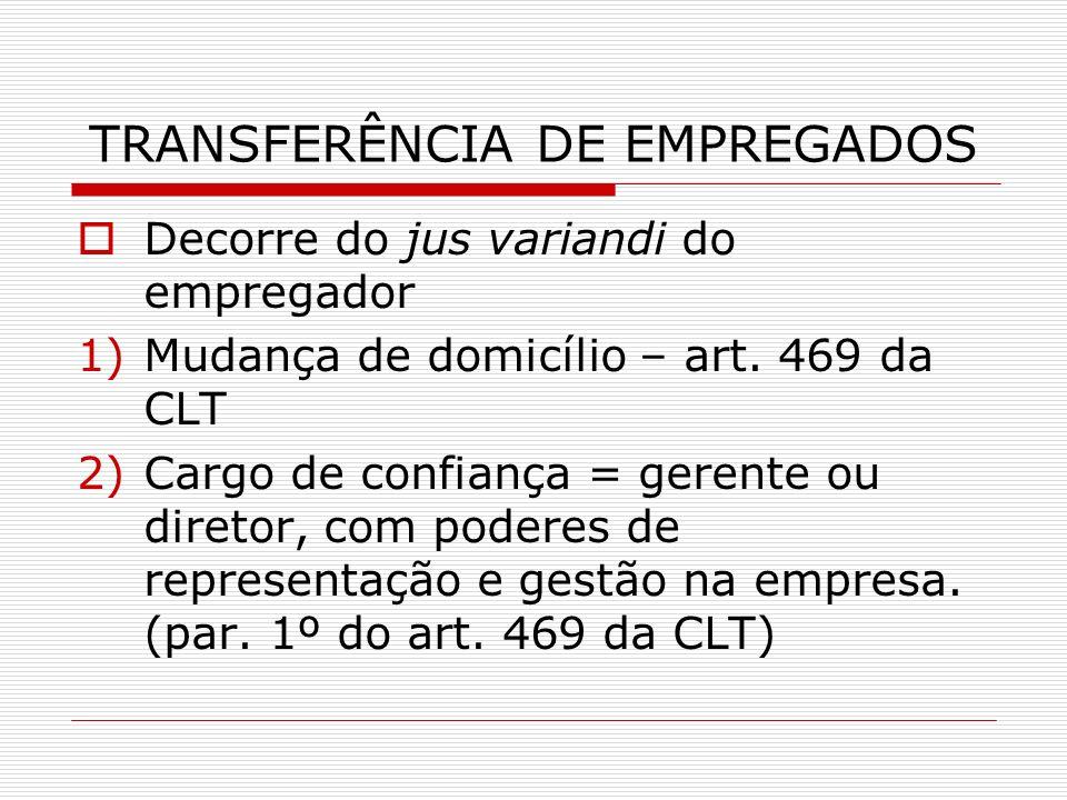 TRANSFERÊNCIA DE EMPREGADOS
