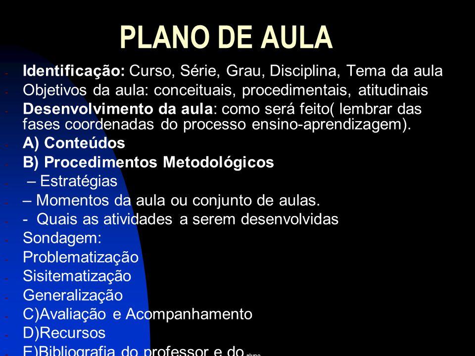 PLANO DE AULA Identificação: Curso, Série, Grau, Disciplina, Tema da aula. Objetivos da aula: conceituais, procedimentais, atitudinais.
