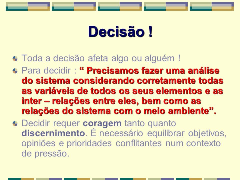Decisão ! Toda a decisão afeta algo ou alguém !
