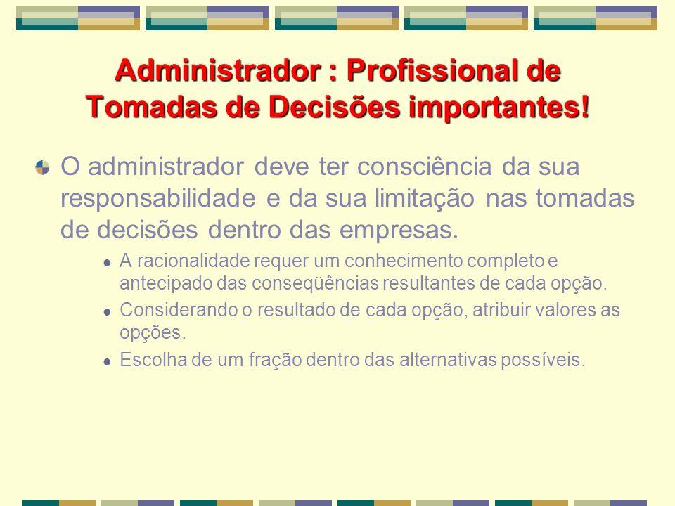 Administrador : Profissional de Tomadas de Decisões importantes!