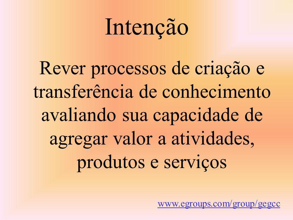 Intenção Rever processos de criação e transferência de conhecimento avaliando sua capacidade de agregar valor a atividades, produtos e serviços.