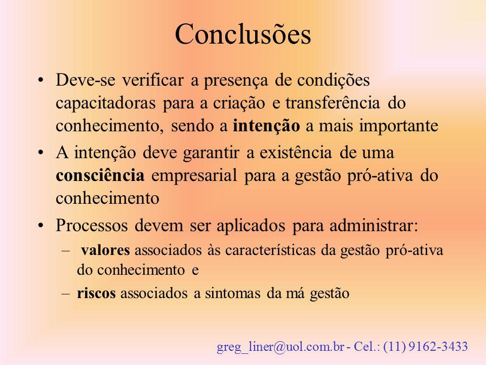Conclusões Deve-se verificar a presença de condições capacitadoras para a criação e transferência do conhecimento, sendo a intenção a mais importante.
