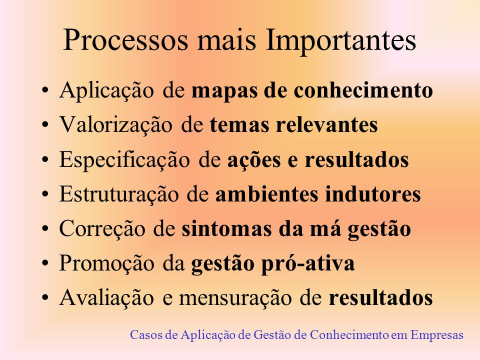 Processos mais Importantes