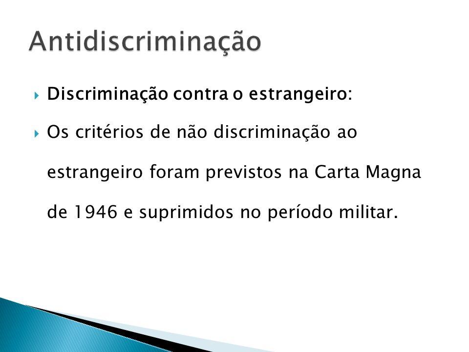 Antidiscriminação Discriminação contra o estrangeiro: