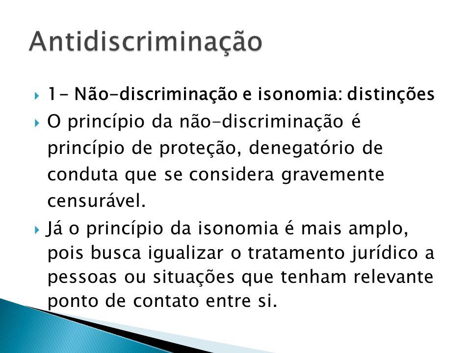 Antidiscriminação 1- Não-discriminação e isonomia: distinções.