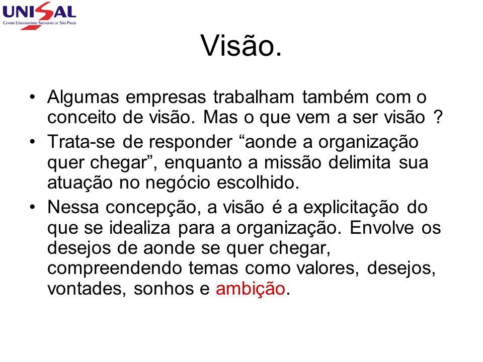 Visão. Algumas empresas trabalham também com o conceito de visão. Mas o que vem a ser visão
