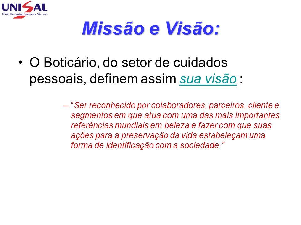 Missão e Visão:O Boticário, do setor de cuidados pessoais, definem assim sua visão :