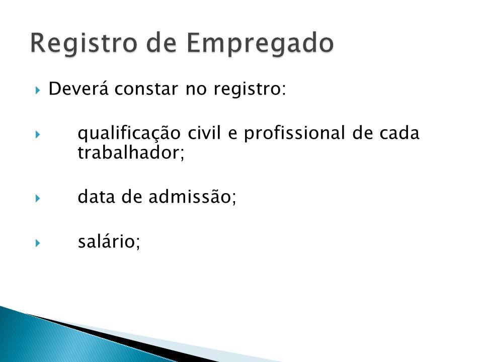 Registro de Empregado Deverá constar no registro: