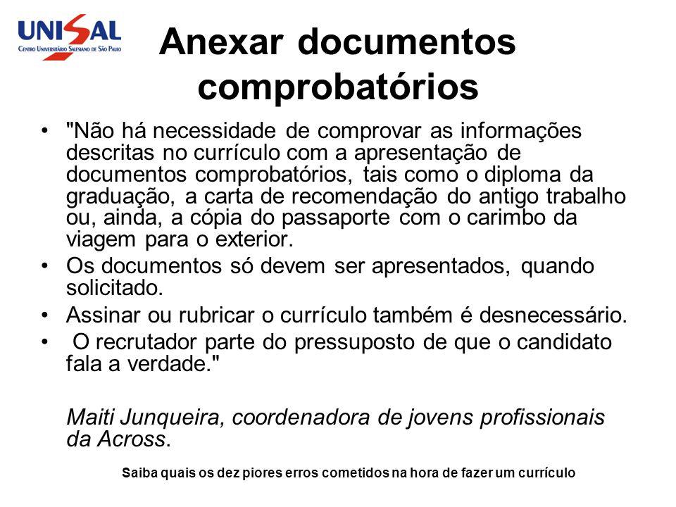 Anexar documentos comprobatórios