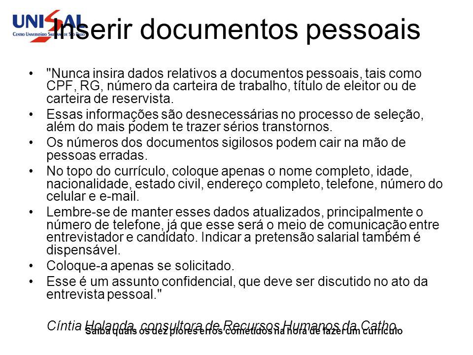 Inserir documentos pessoais