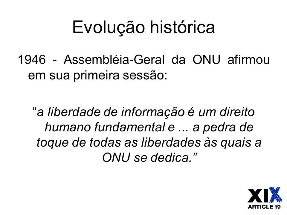 Evolução histórica 1946 - Assembléia-Geral da ONU afirmou em sua primeira sessão: