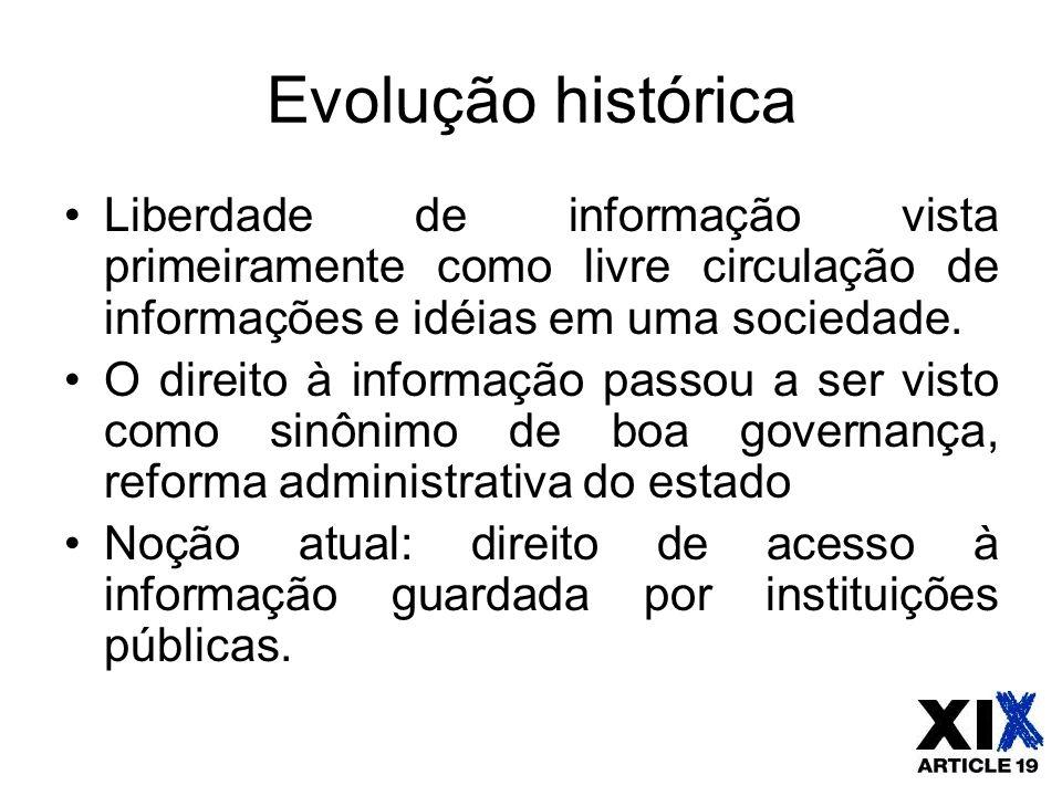 Evolução histórica Liberdade de informação vista primeiramente como livre circulação de informações e idéias em uma sociedade.