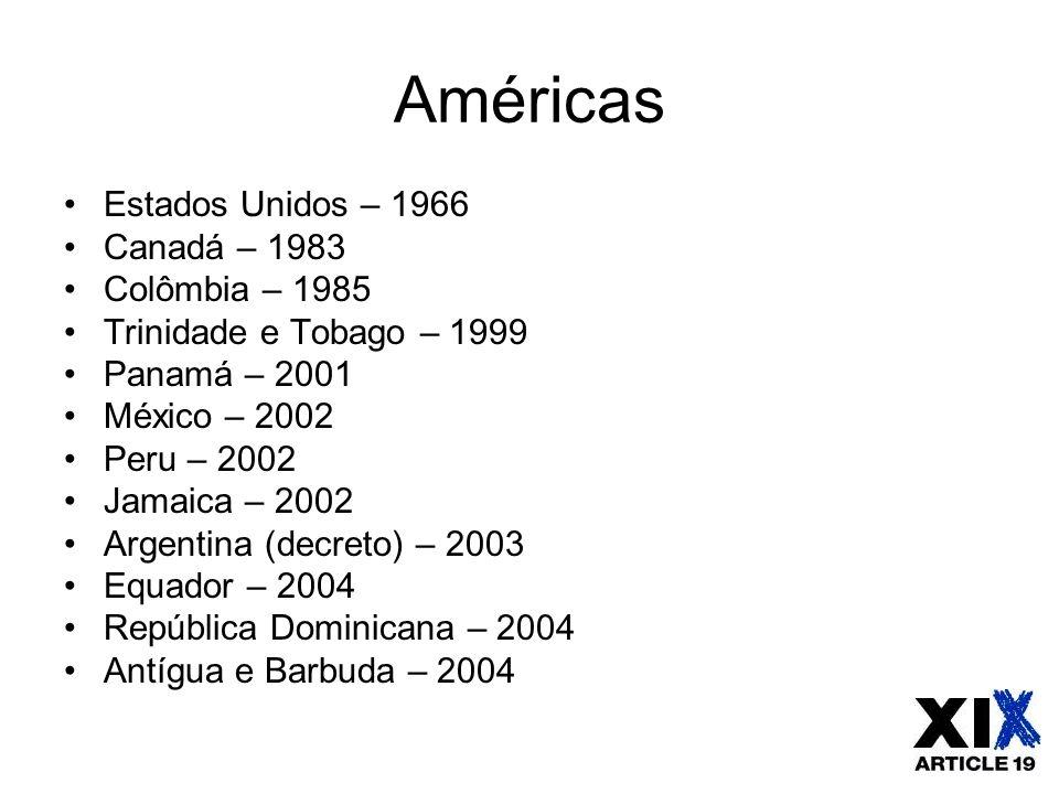 Américas Estados Unidos – 1966 Canadá – 1983 Colômbia – 1985