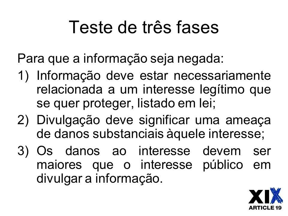 Teste de três fases Para que a informação seja negada: