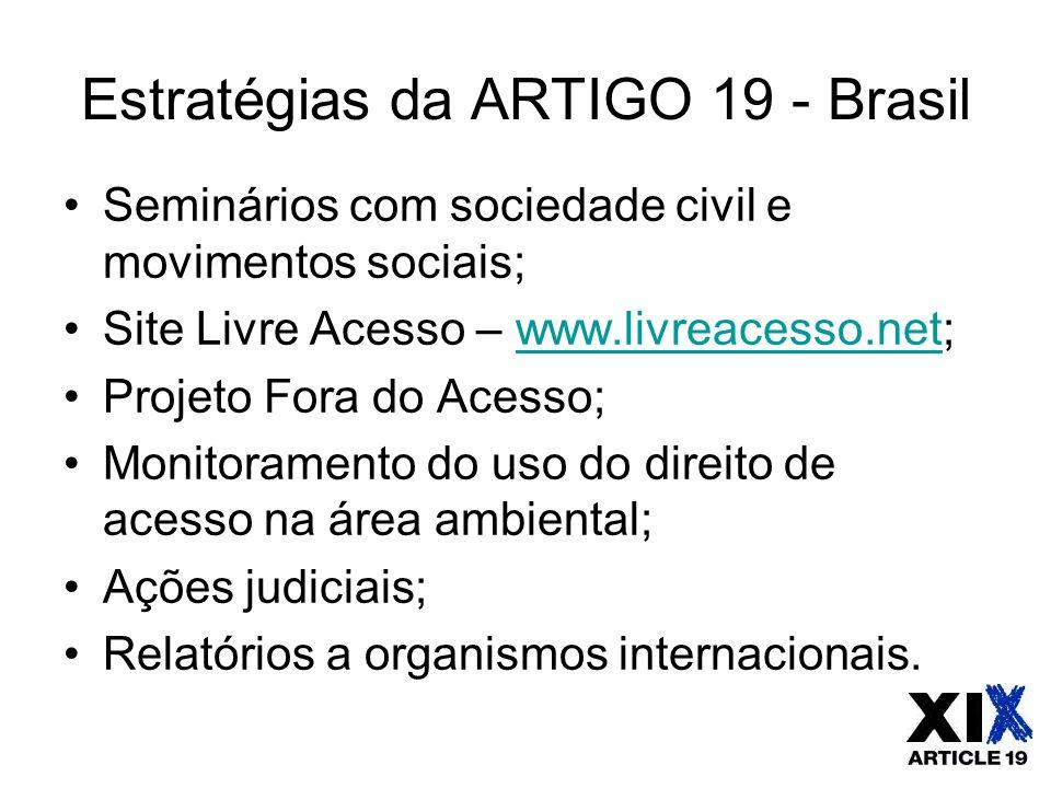 Estratégias da ARTIGO 19 - Brasil