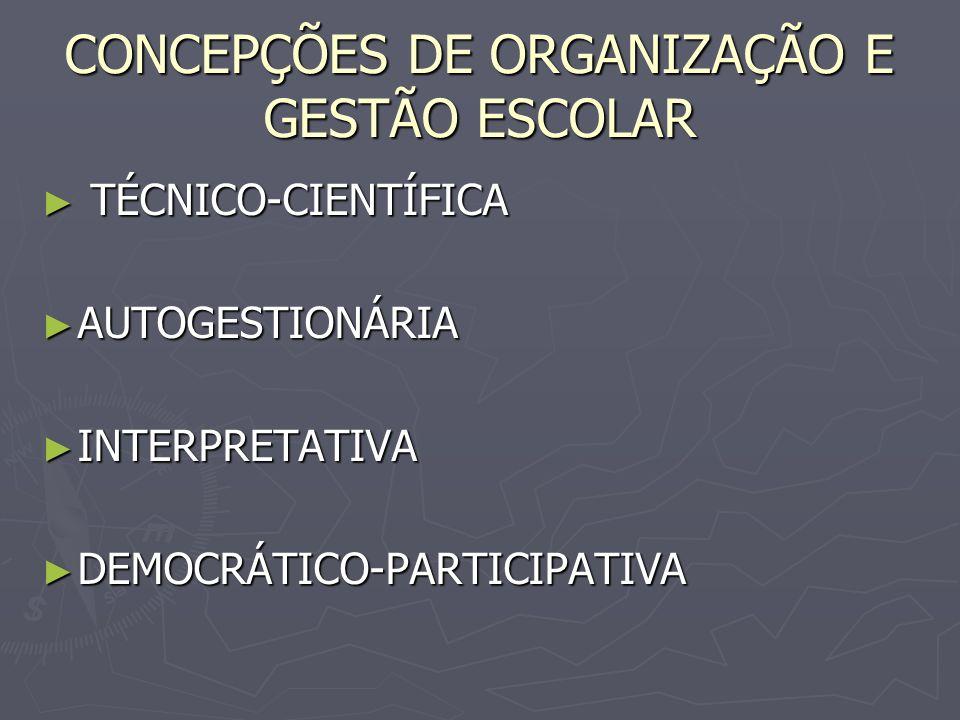 CONCEPÇÕES DE ORGANIZAÇÃO E GESTÃO ESCOLAR