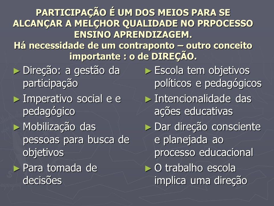 Direção: a gestão da participação Imperativo social e e pedagógico