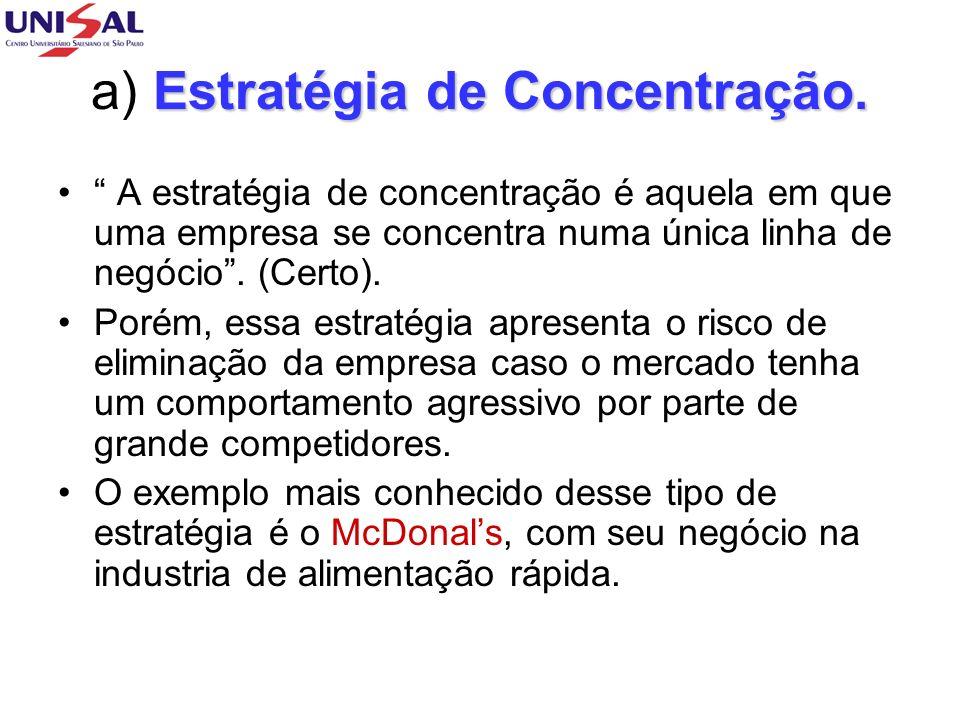 a) Estratégia de Concentração.
