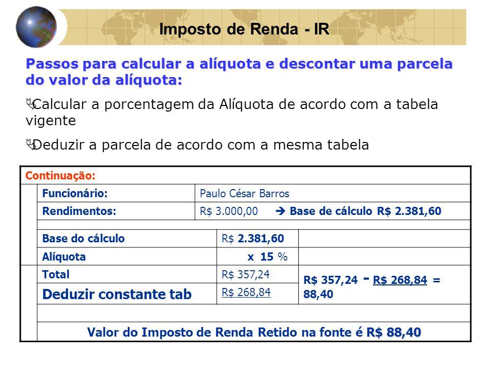 Valor do Imposto de Renda Retido na fonte é R$ 88,40