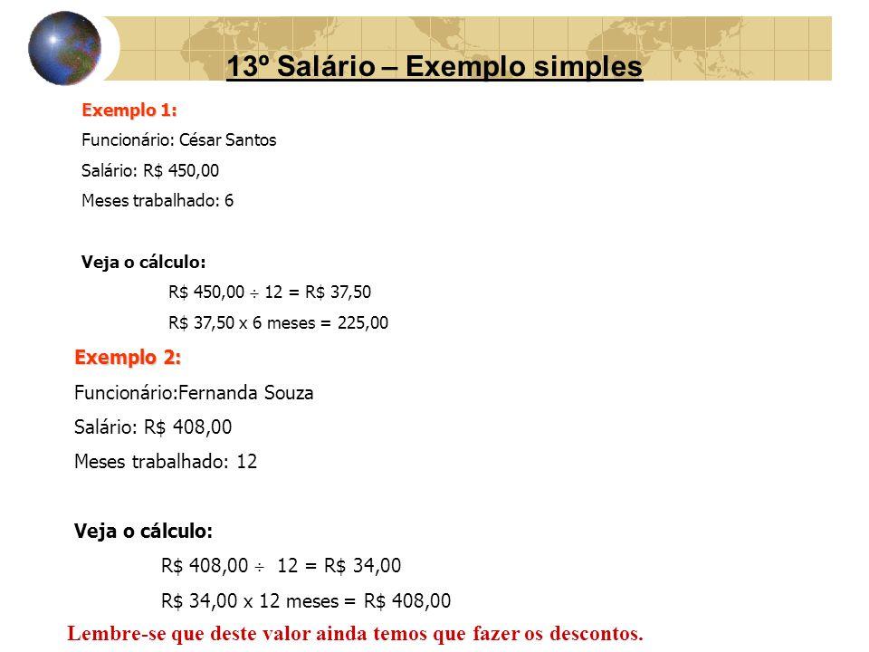 13º Salário – Exemplo simples