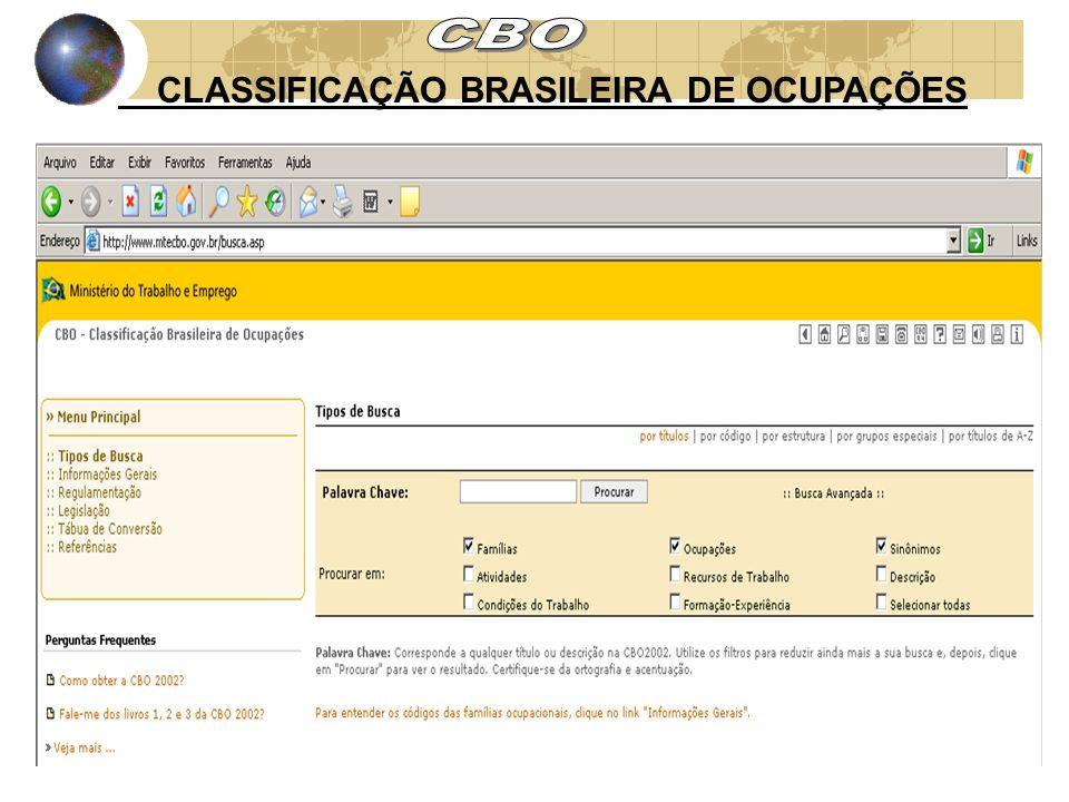 CBO CLASSIFICAÇÃO BRASILEIRA DE OCUPAÇÕES
