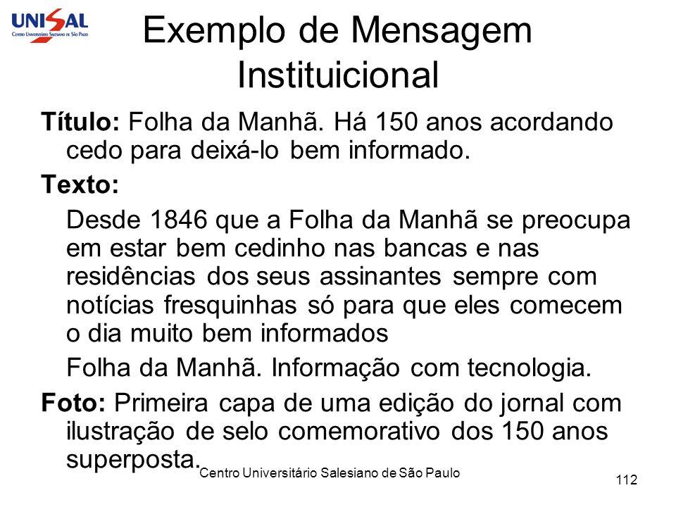Exemplo de Mensagem Instituicional