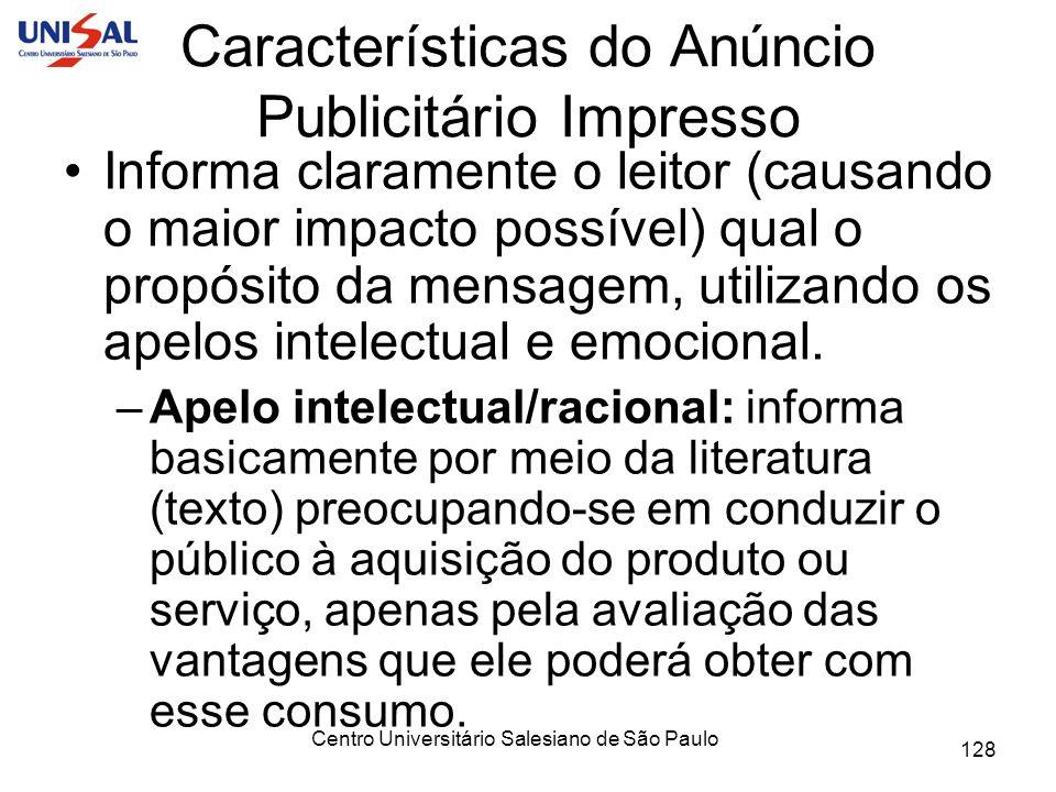 Características do Anúncio Publicitário Impresso