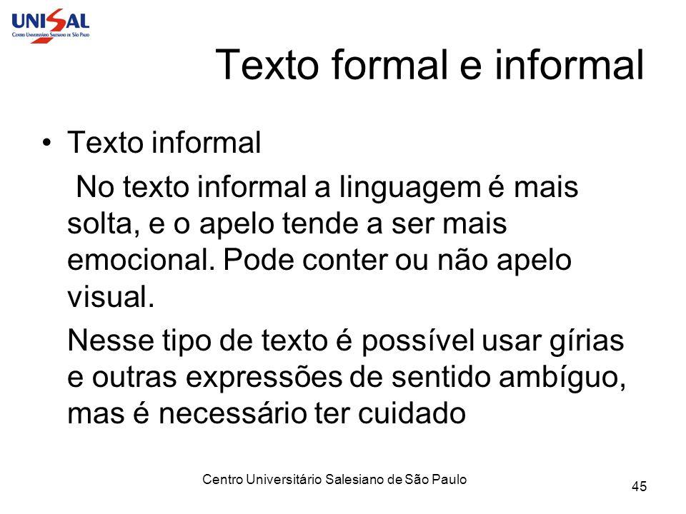 Texto formal e informal