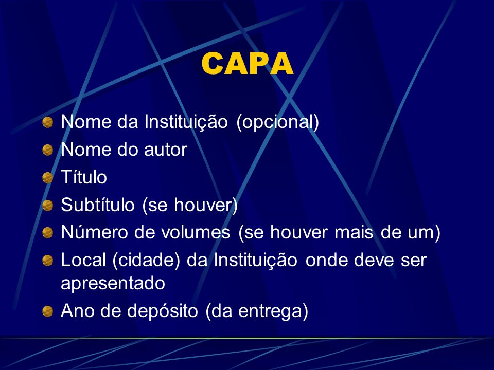 CAPA Nome da Instituição (opcional) Nome do autor Título