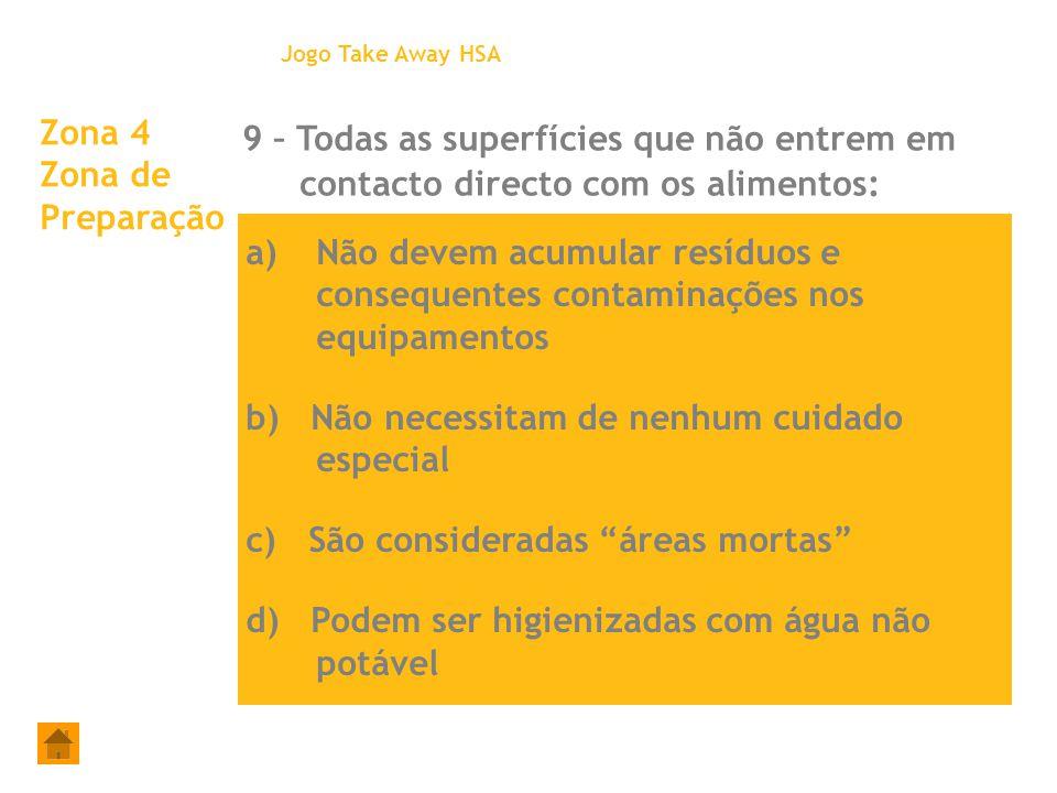 Jogo Take Away HSA Zona 4 Zona de Preparação. 9 – Todas as superfícies que não entrem em contacto directo com os alimentos: