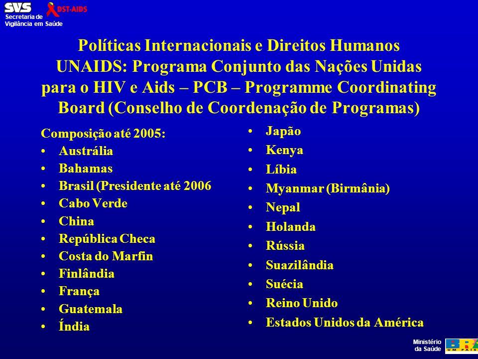 Políticas Internacionais e Direitos Humanos UNAIDS: Programa Conjunto das Nações Unidas para o HIV e Aids – PCB – Programme Coordinating Board (Conselho de Coordenação de Programas)