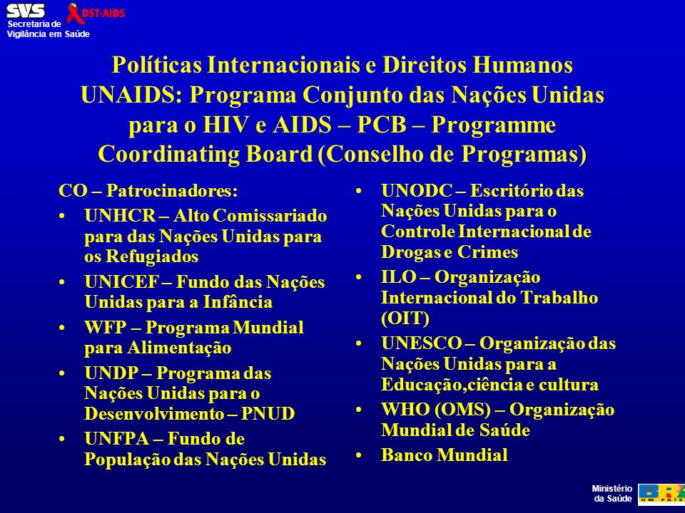 Políticas Internacionais e Direitos Humanos UNAIDS: Programa Conjunto das Nações Unidas para o HIV e AIDS – PCB – Programme Coordinating Board (Conselho de Programas)