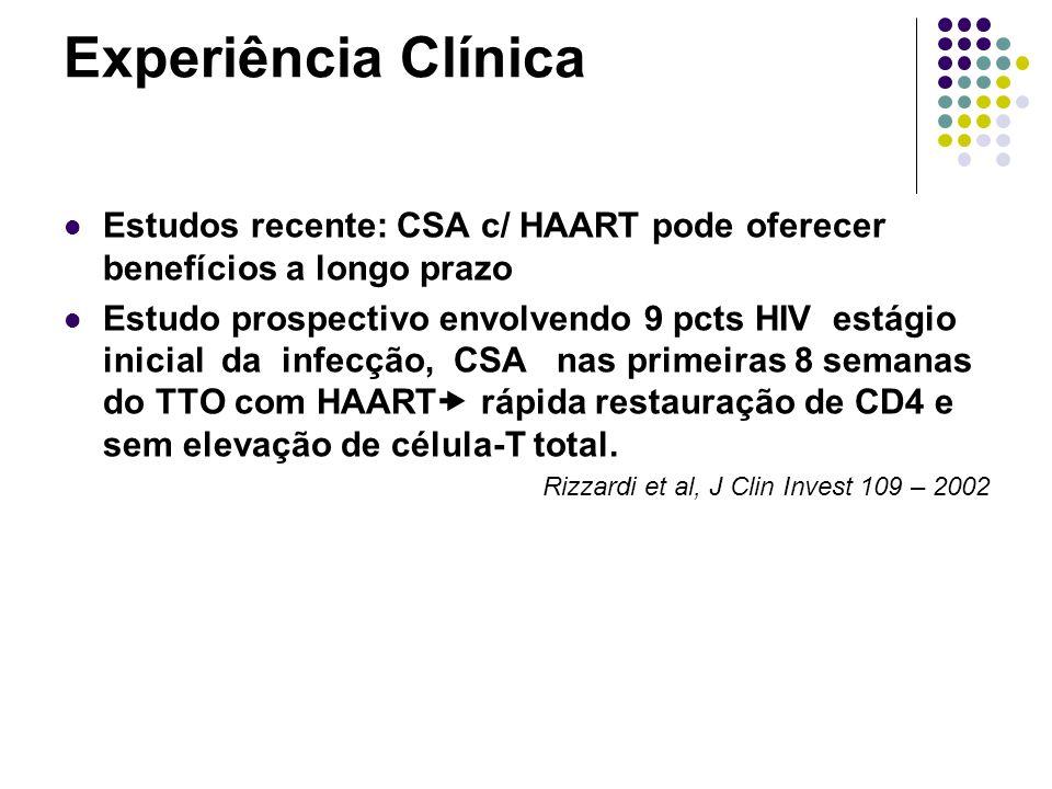 Experiência Clínica Estudos recente: CSA c/ HAART pode oferecer benefícios a longo prazo.